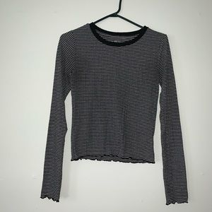 Black and white striped long sleeved top